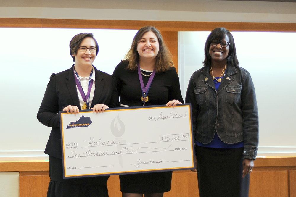 Fourth place team, Hubana, Jane Hall and Makynzie Miller with Lt. Governor Jenean Hampton.