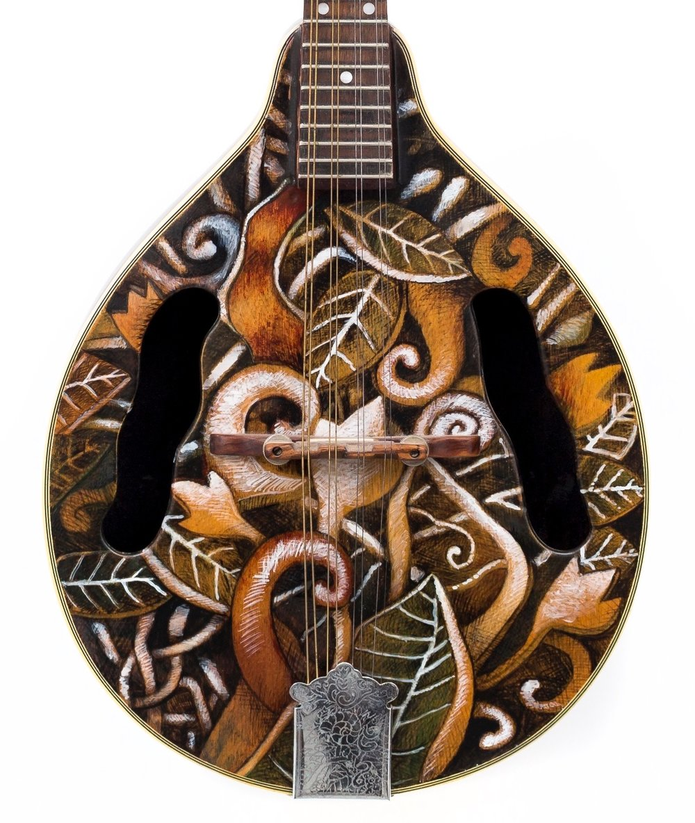 """Leaves and Spirals""…mandolin by Peter Cree…artists pigment in lacquer….artists price 4500.00"