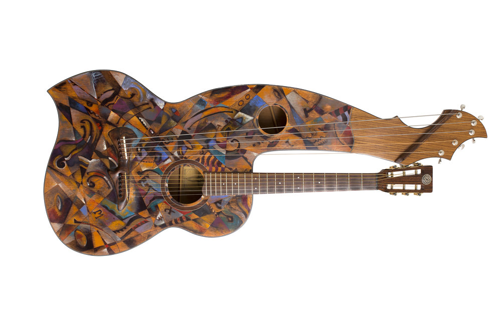 Harp guitar by Todd Johnston.....pigment in shellac. $15,000.00