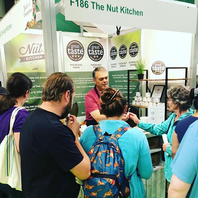 Super busy today at the #bbcgoodfood summer show. We run out of #hazelnutspread  and #hazelnutpaste. Lots of happy foodies today! ..............       #foodies #foodblog #vegan #vegetarian #nutbutter #nutpastes #pistachio #almonds #hazelnut #nutella #nutbutteraddict #nutbutter #nutspread #heaveninajar #chefs #chefsofinstagram