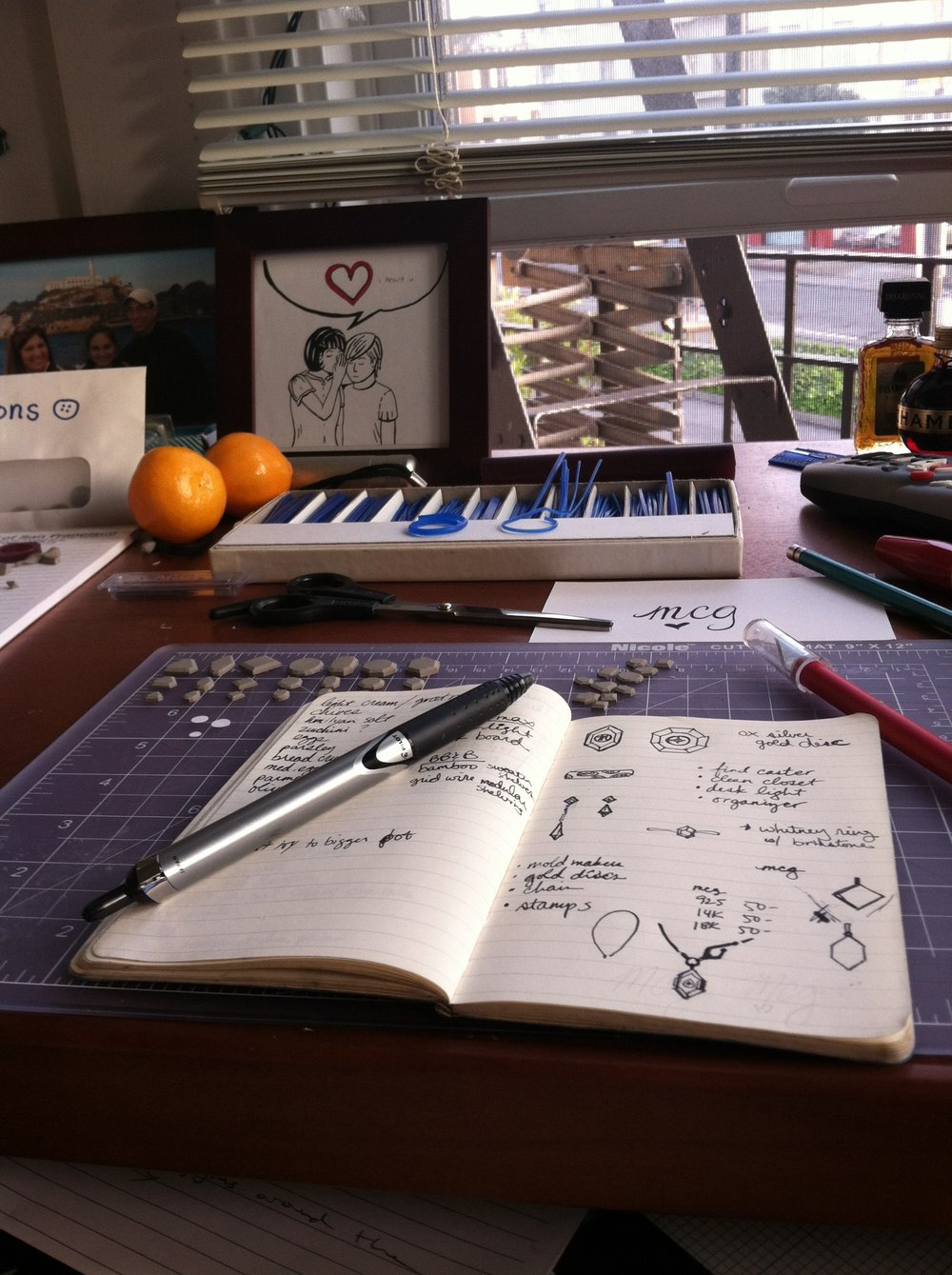 "Sketching and planning at my desk with a ""view"""