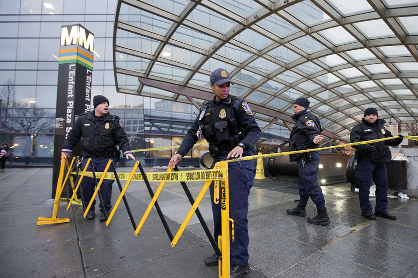 Metro Transit Police officers, secure the entrance to L'Enfant Plaza Station in Washington, D.C., Jan. 12, 2015, courtesy of   msnbc .