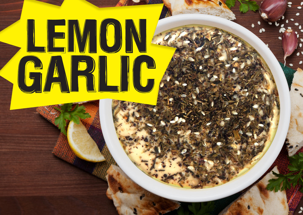 Our classic hummus with extra fresh garlic and lemon juice. Topped with Za'atar, a tasty Middle Eastern spice blend