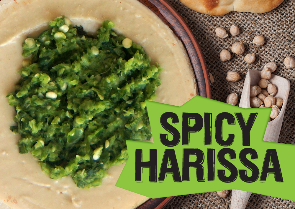 Hummus topped with a Moroccan hot sauce made with fresh green chilies, cilantro, and cumin