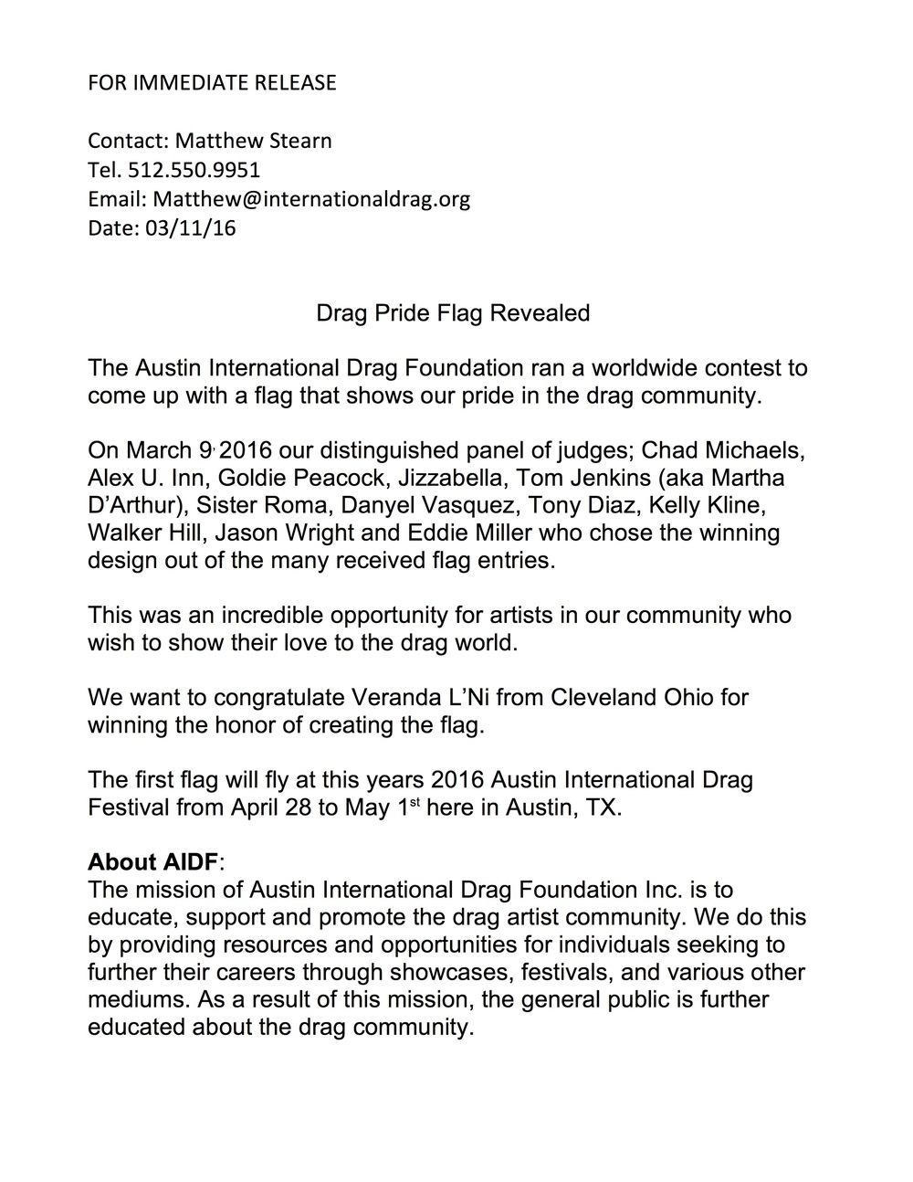 Press release from AIDF | March 11, 2016