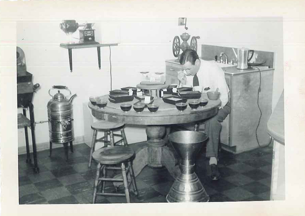 Grandpa George P. Beech cupping coffee