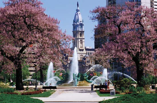 Philadelphia City Hall seen from Logan Circle.