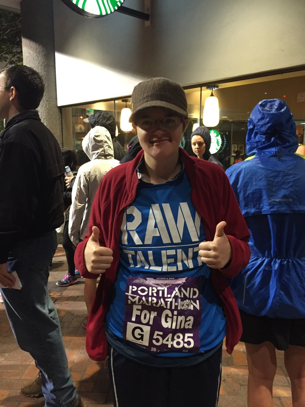 Start of Portland Marathon October 2016. 5 months after her diagnosis of Melanoma in May 2016.