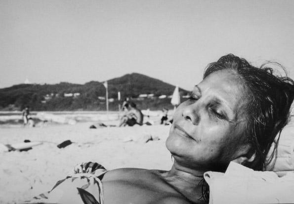 My mother taking in the sun in Australia.