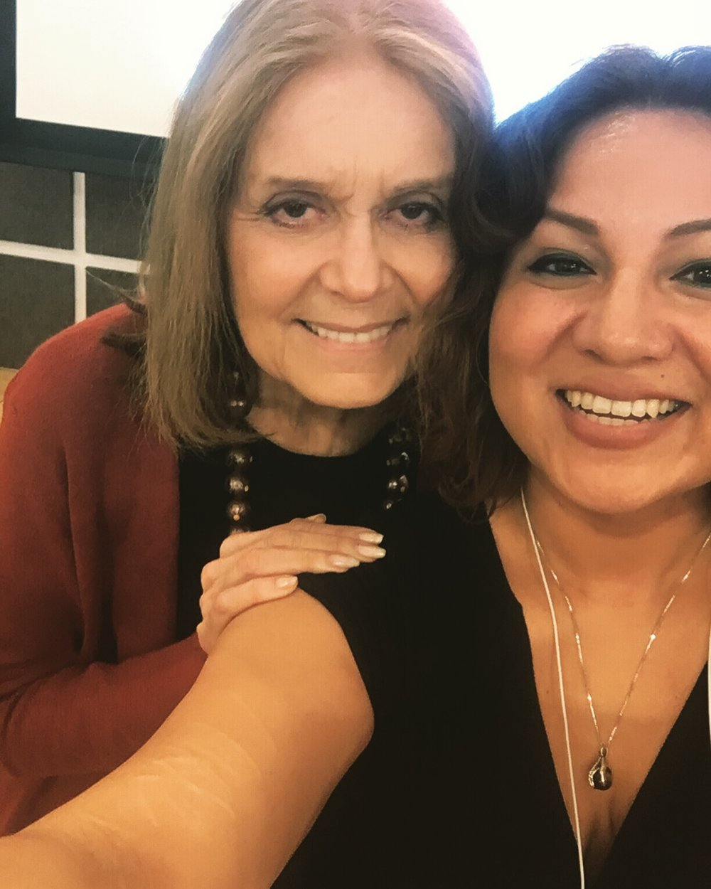 Me: The last photo didn't come out. Can we take a selfie?  Gloria Steinem: For sure.  Me: ::looks at selfie:: OMG, Gloria. We are adorable.