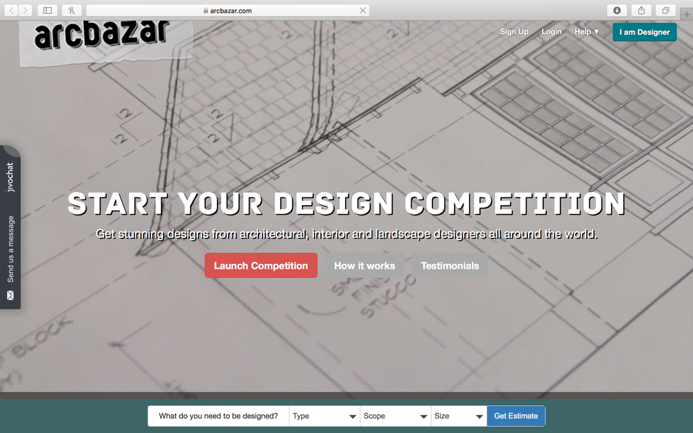 arcbazar - arcbazar is an online marketplace for affordable interior and landscape architectural design.  Whether developing a new building, designing its landscape or providing design ideas to your clients or tenants, arcbazar can add value at every step of the process at a fraction of traditional costs. Architects globally submit renderings, plans and sections that can be handed over to a contractor for implementation.