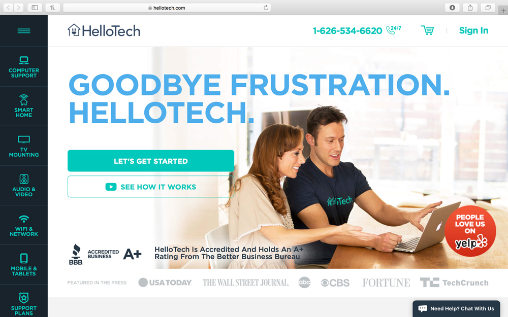 HelloTech - HelloTech is the leading provider of on-demand, in-home and in-office tech installation, setup, training, and support.  Its nationwide network of 7,000+ background checked and trained technicians perform everything from traditional computer support and training to smart-home installation, ongoing tech support and everything in between. HelloTech services property management offices, wired buildings, tenant move-ins and ongoing IT support needs.