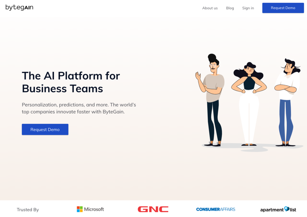 bytegain - AI platform that analyzes billions of online user behavior data points on websites and CRM systems to identify patterns in journeys enabling real-time conversion predictions, lead scoring and next best actions to close—increasing lead quantity, quality, and performance.
