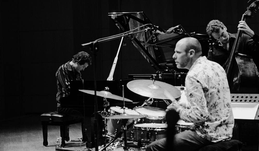 The 2005 incarnation of the Mehldau Trio is (L to R) Mehldau (keys) Ballard (skins) Grenadier (bass)
