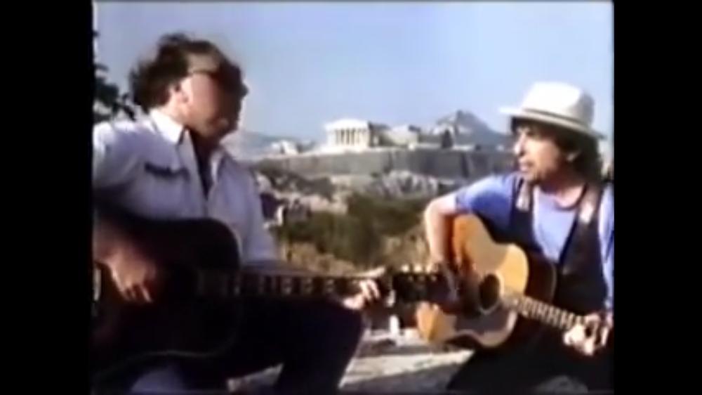 Van, Bob, their guitars and the Acropolis