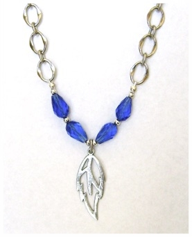Sapphire nd Silver Leaf Necklace.jpg
