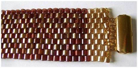 Flecked Raspberry:Gold  Peyote Stitch Bracelet.jpg
