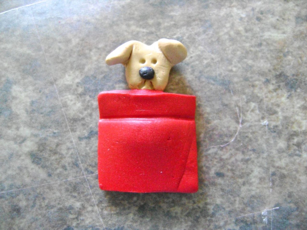step 10 - Lay a pocket on top of the dog and press together.