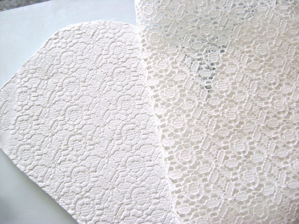 step 9 - Place a piece of lace over the clay. Roll across the surface with an acrylic roller to emboss the clay with the lace design. Carefully peel away the lace.