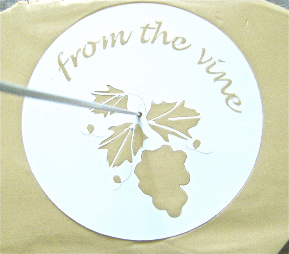 "step 2 - If you are applying a design to the clay, like the ""From The Vine"" template, do it now.  See instructions below. The stencil for this design is included with the download."