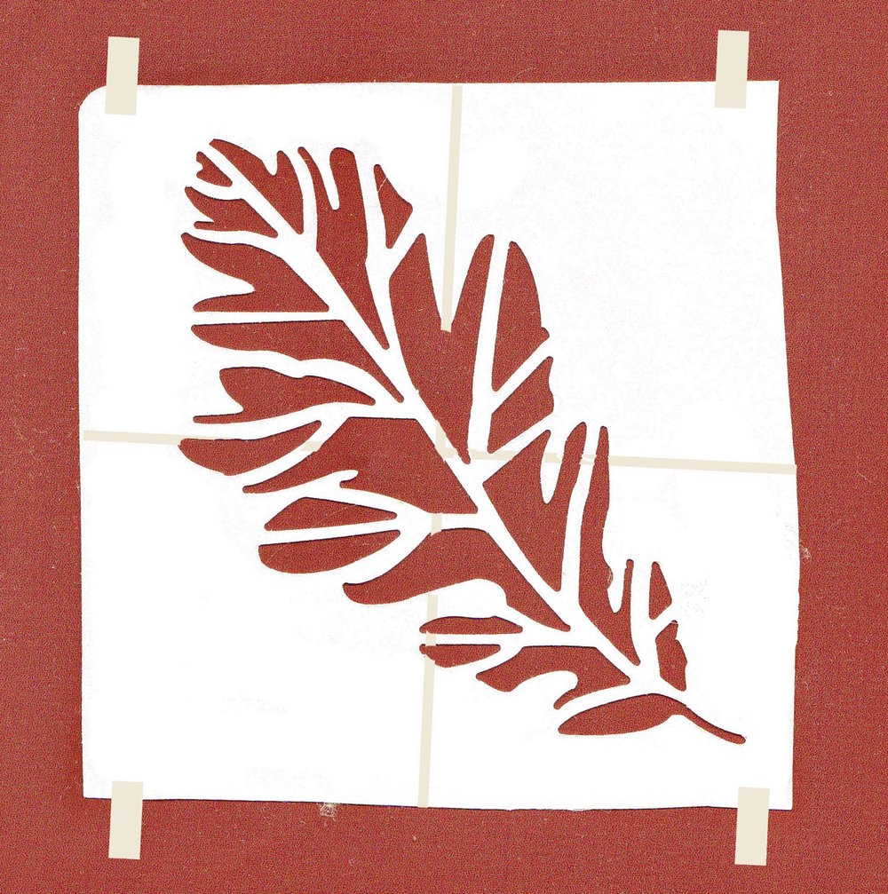 step 9 - Rust Canvas Painting Directions   Cover the canvas entirely with the rust paint.  When it dries, center your personally crafted leaf stencil on the surface. With painter's tape secure the outer edges in place.