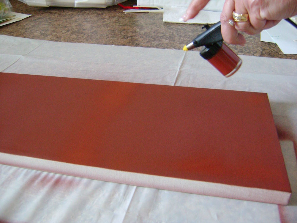 step 2 -  Spray the entire canvas with Burnt Sienna paint.  Don't forget the sides.