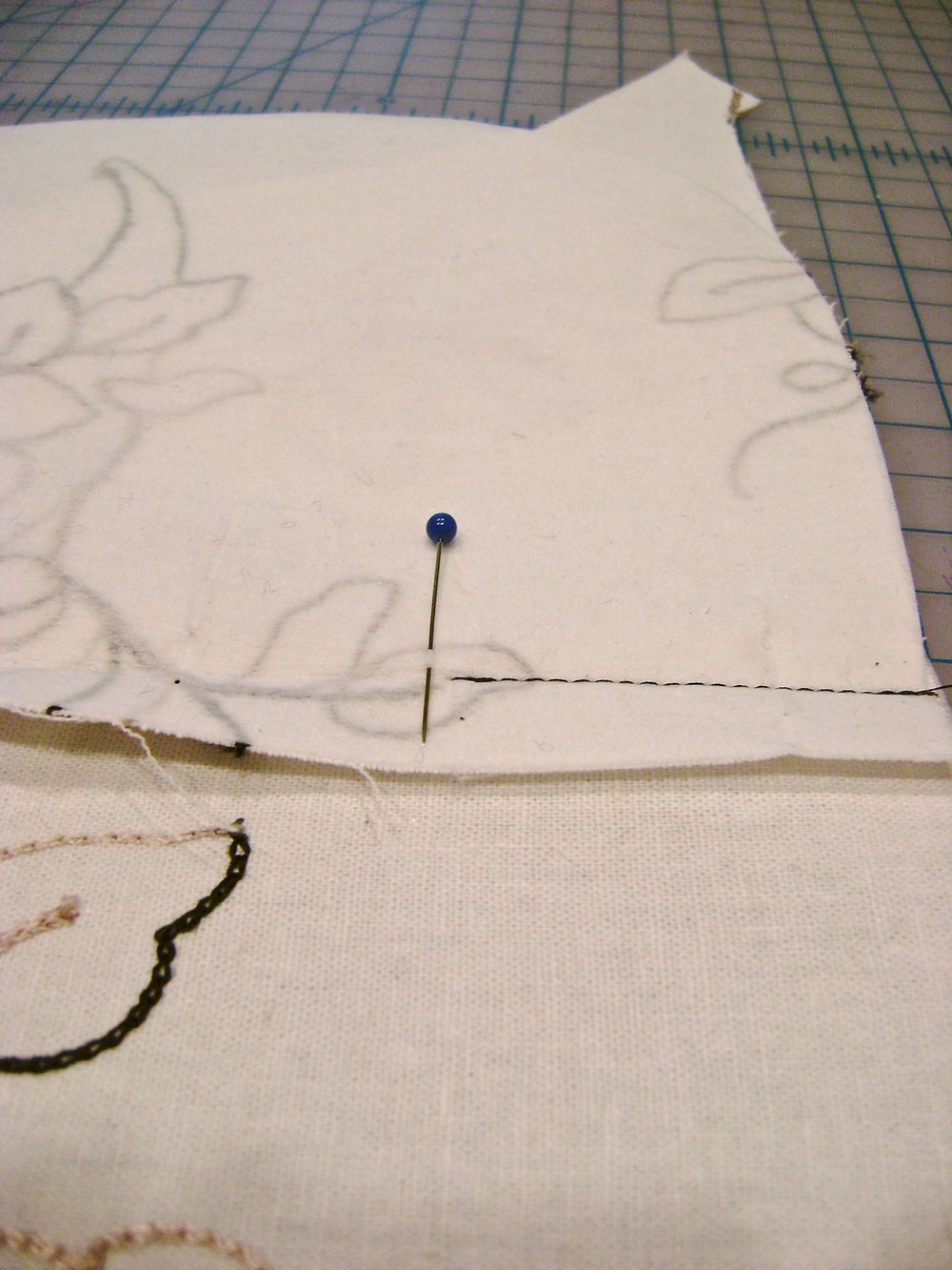step 2 - On both sides of purse, stitch the wrong side of the pocket from the outer edge of the purse to the red dot only, leaving the center of the seam open for the zipper.