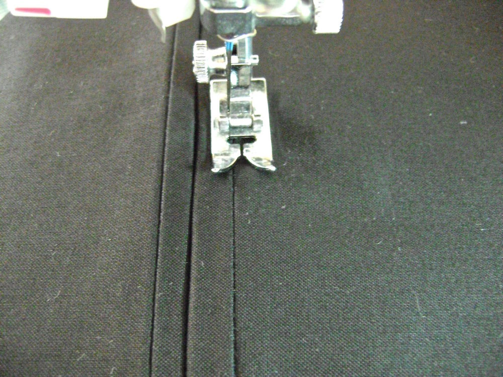 step 7 - Attach the zipper by sewing along the rectangle on the right side of fabric.