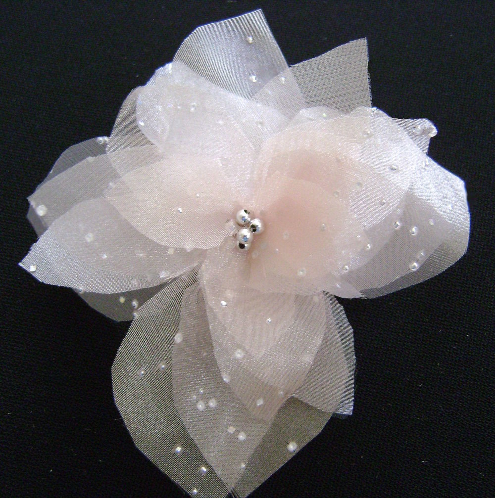 Organza dotted with silver accents.  Silver bead center.