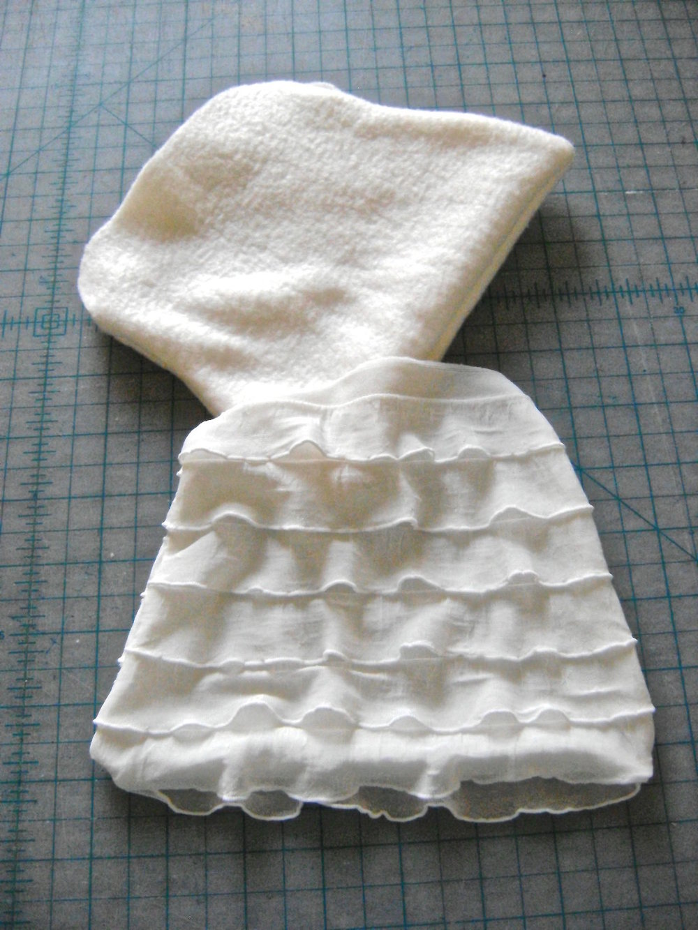 step 6 - Slip the fleece purse into the ruffled purse.