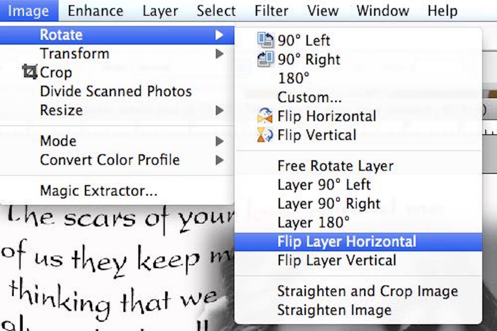 "step 5 - Save a copy of your document.  In the Layers menu click ""merge visible"".  In the Image menu select ""rotate and ""flip layer horizontal""."