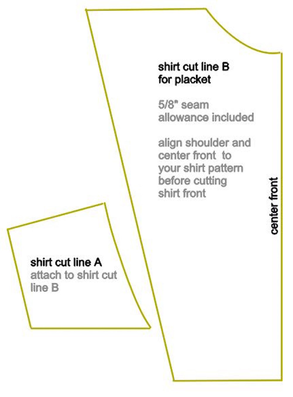 step 1 - Print out the template pieces for the shirt Cut Line and the Placket.  Each is in two pieces. Tape them together.