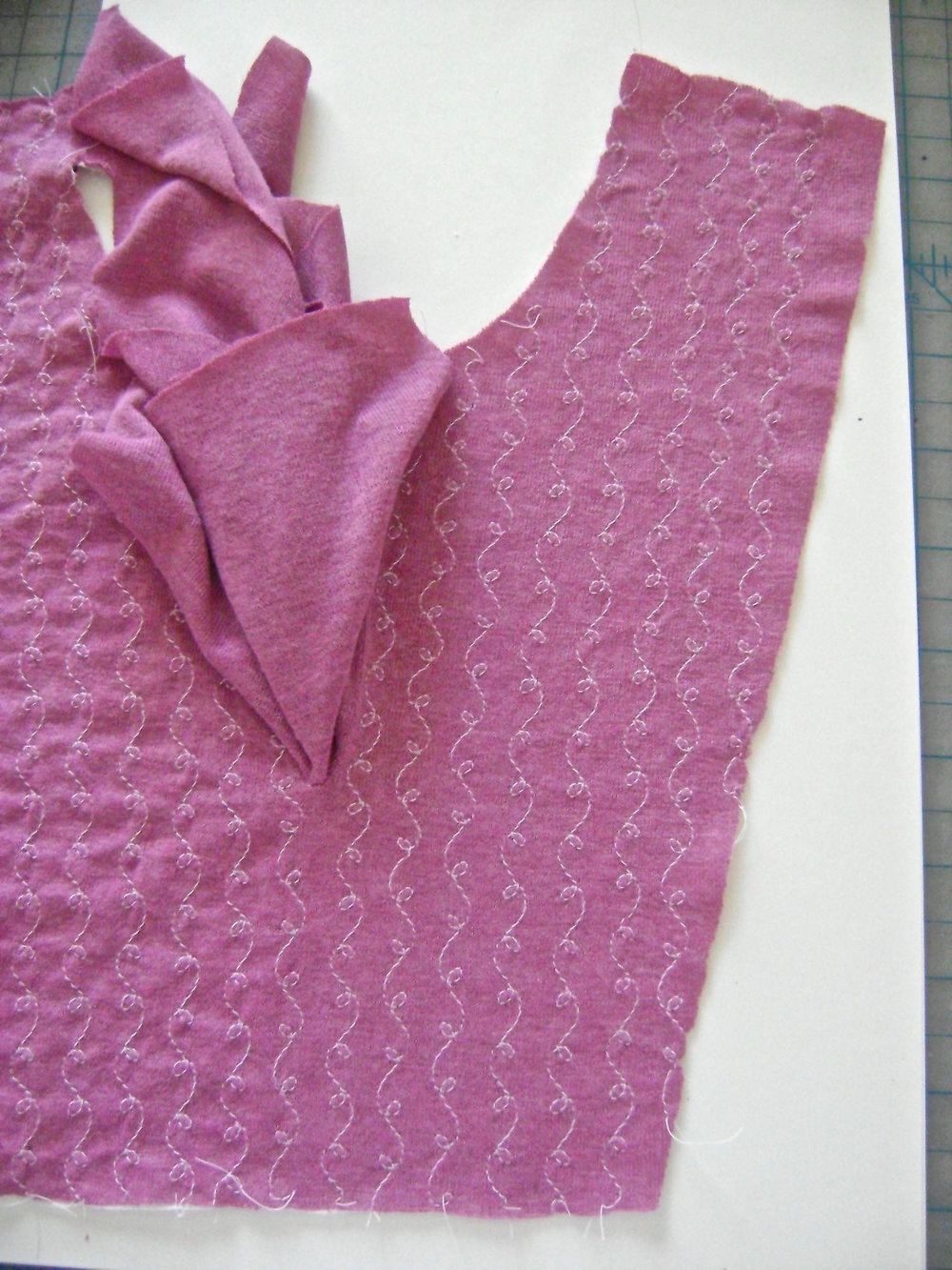 step 8 - Add more rows until the placket is filled.  be sure to stitch only on the interfaced fabric.
