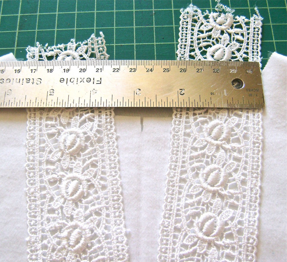 step 6 - Measure the width from one lace outer edge to the other at the neckline.