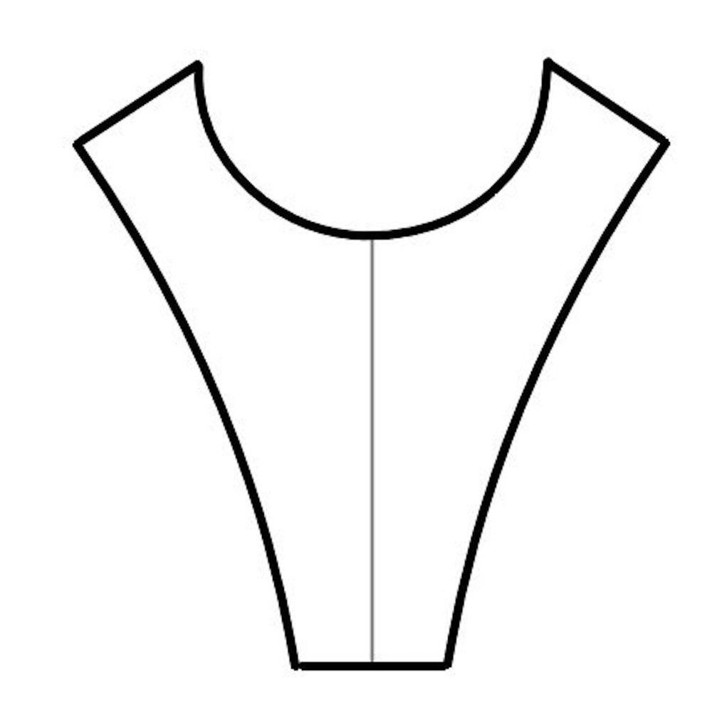 step 9 - Make a pattern for the facing using white knit fabric.  Trace the shirt neckline from shoulder to shoulder,  adding shoulder seam allowances.  The length of the pattern should match the interfacing pattern.  Finish all the edges except the neckline with a serger or zigzag stitch.