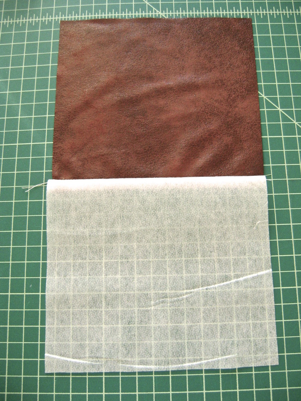step 15 - With right sides together, sew the pocket interfacing to the pocket fabric.