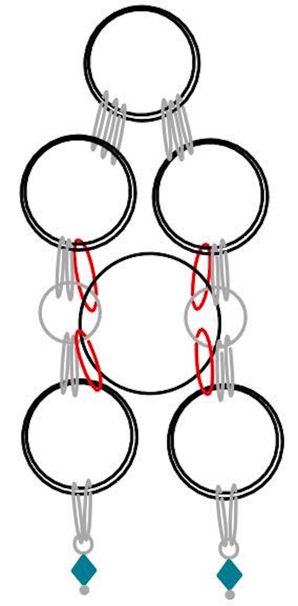 step 8 - Turn the work over.  Slip one large ring through the four small inside rings (shown in red).  Spacing and size are exaggerated here for better viewing.