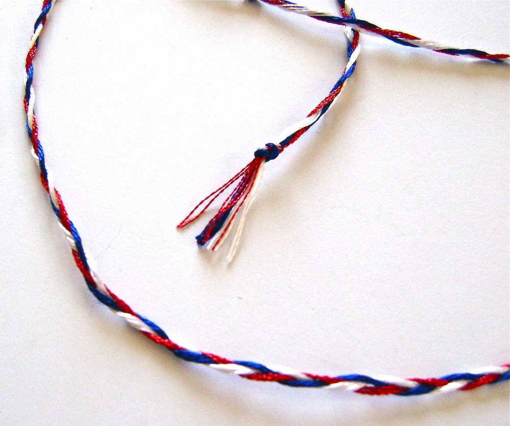 "step 6 - Braid the strands together until you have 18"" or the length you want for your necklace."