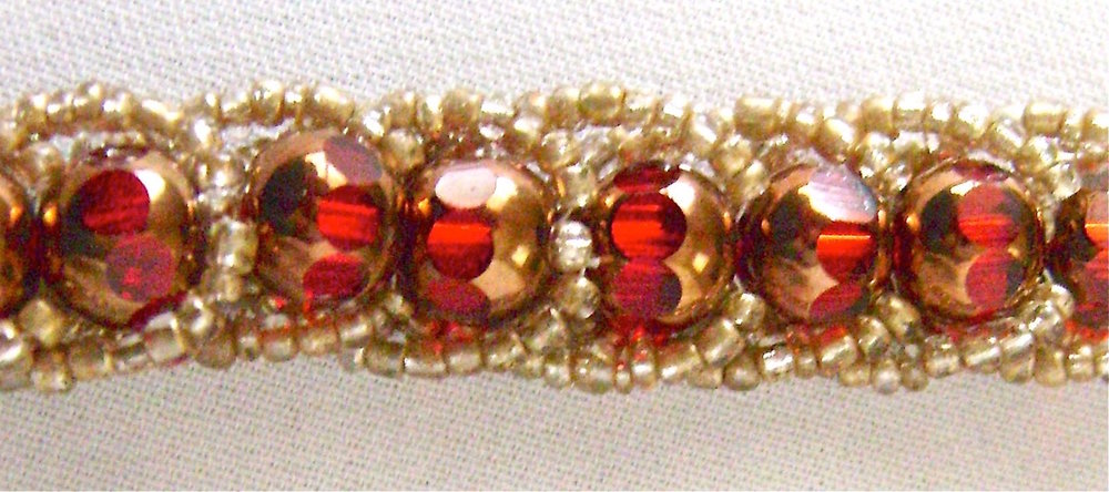 Glass beads - 8mm red with gold caps on tops and bottoms, gold seed beads