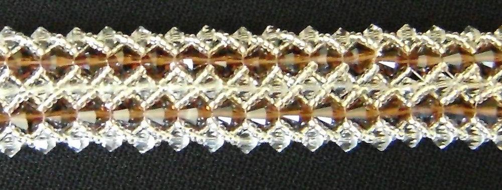 "6.50"" double strand woven crystal bracelet"