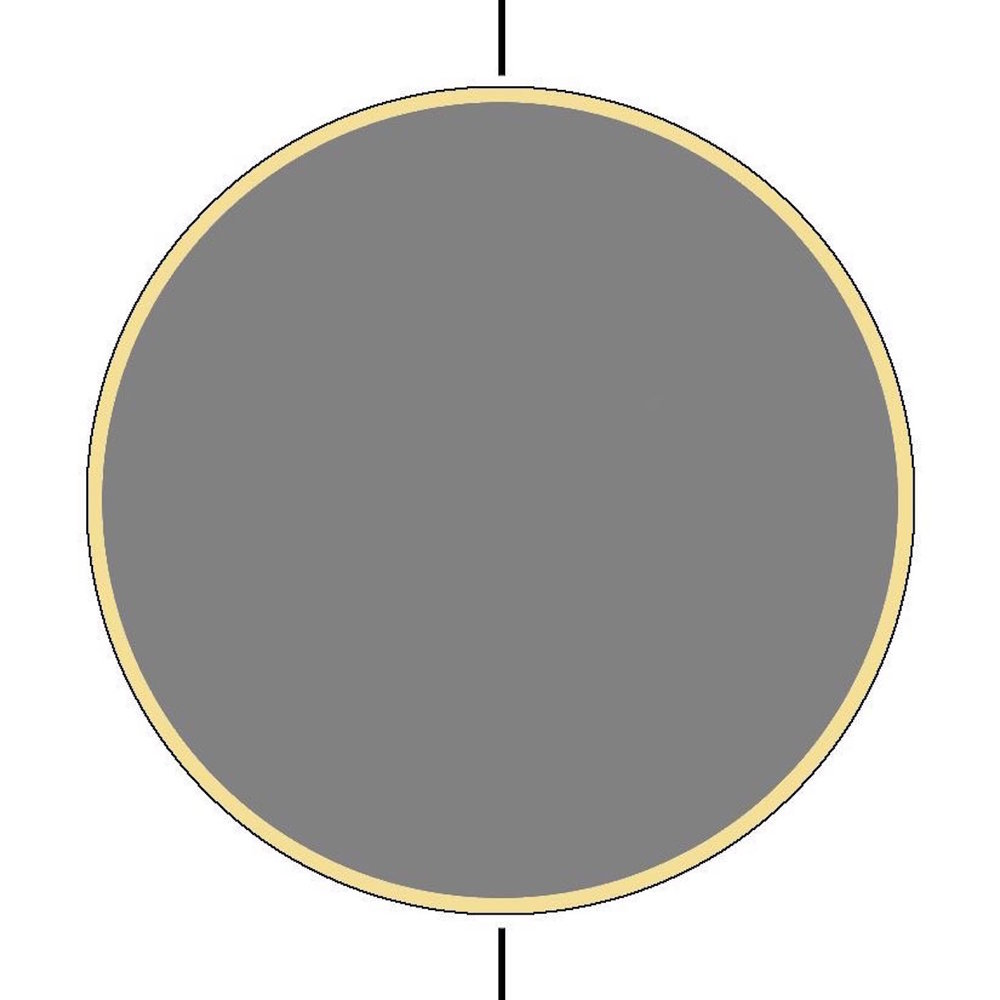 "step 3 - Trim the grey moon circle piece so it is 1/8"" smaller around than the stencil opening. Center it inside the moon opening. With Blonde Ambition paint, spray between the grey piece and the stencil edges to create a solid circular yellow line."