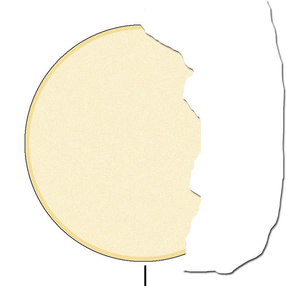 step 5A - Roughly rip a piece of paper towel into a curve to cover 1/3 of the moon. Hold it in place and spray a solid bright coating of Blonde Ambition on the exposed area.