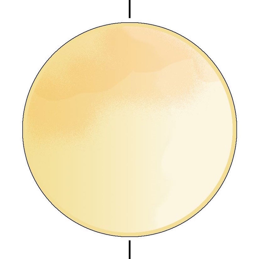 step 5B - The paper towel will create a subtle and uneven mask between the light yellow and the brighter yellow paint in the moon. When dry, dust one quarter of the open area lightly with Mango Tango to create a harvest moon effect.