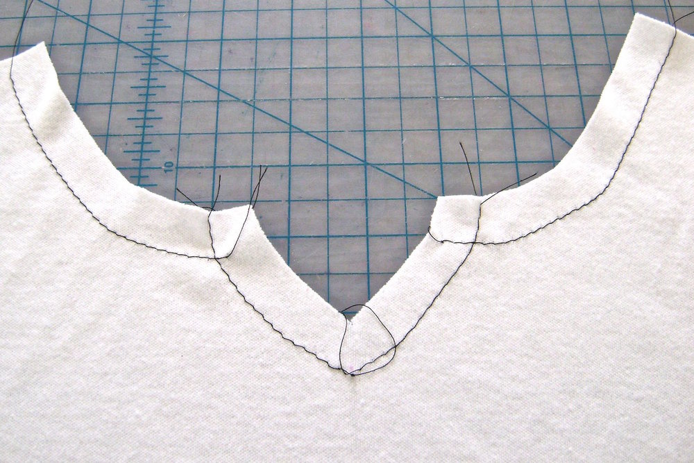 step 2 - Stitch 5/8 of an inch from the edge of the neckline with a basting stitch.