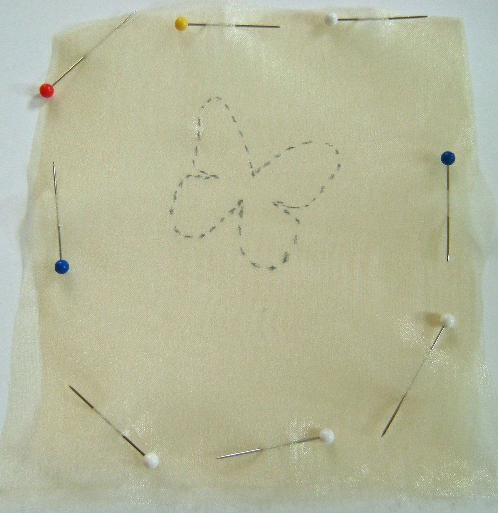 step 15 - Remove the fabric from the paper and pin the squares together.  Each butterfly is made of two layers of organza fabric sewed together.