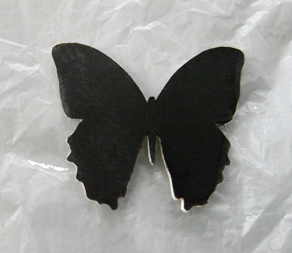 step 3 - Paint one side of the butterfly with the black marker.  Also run the marker along the edge of the butterfly.