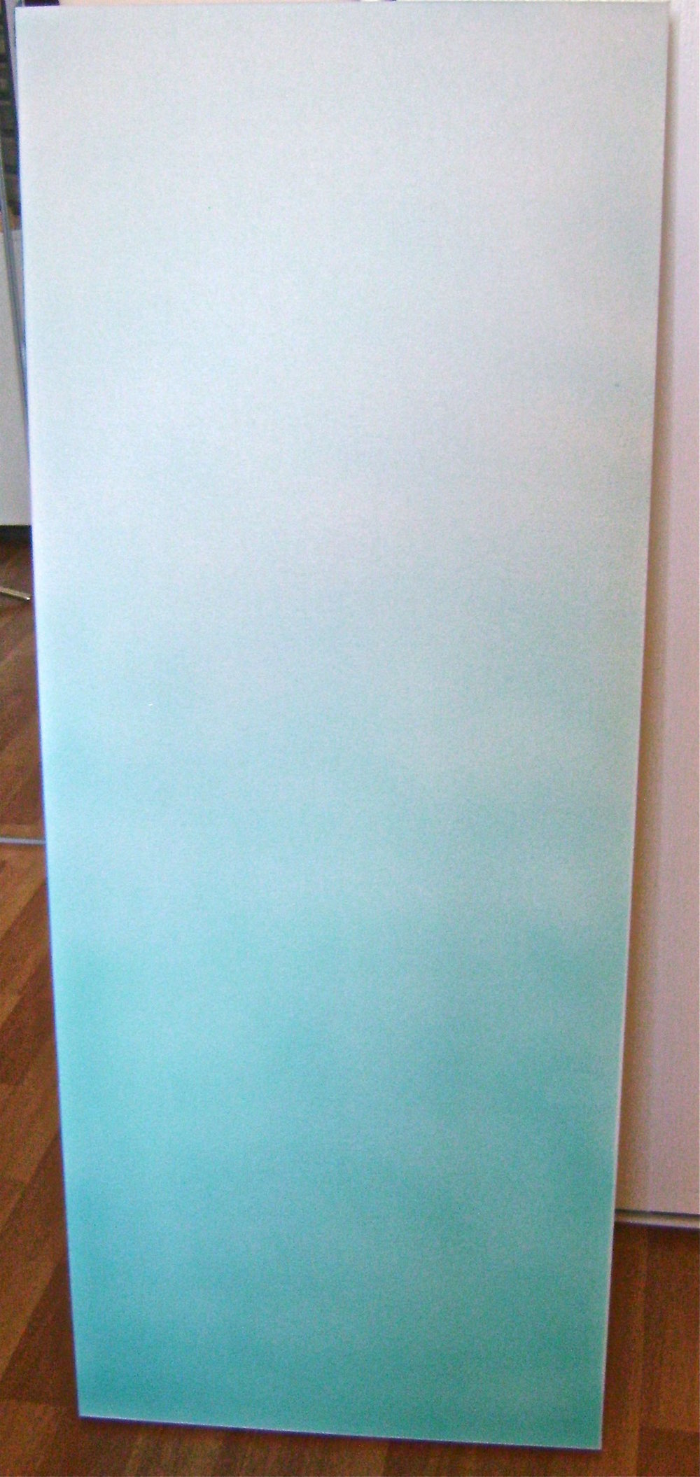 step 1 - Airbrush the canvas with turquoise paint.  Begin with full color at the bottom and a progressively lighter spray working toward the top.  Mix Mocha paint with white to create a light tan color.  Spray full color at the top of the canvas then spray a lighter coat as you move down the canvas to blend into the turquoise.  Protect the painted center when dry with Frog tape and airbrush all four sides with solid turquoise.