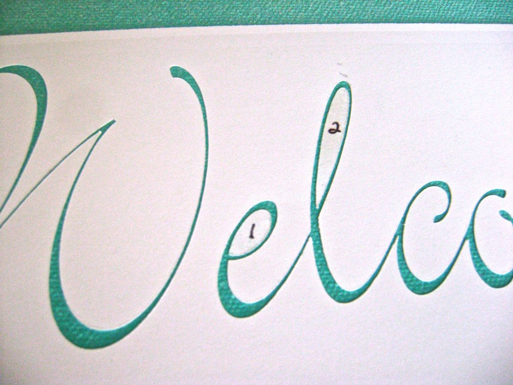 step 3 - I used a stencil cutting machine to cut out the welcome message on card stock and repositionable spray adhesive to attach it to the canvas. If you don't have a machine and don't want to cut the stencil by hand, print out the message and transfer the words to the canvas using tracing paper.  Paint over the letters with mocha paint using a fine brush.