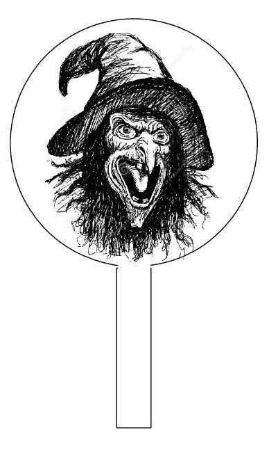"step 2 - Do a Google image search for a witch, zombie or other spooky character.  The ideal image will be black and white.  The image you choose may be copyright protected. It is your responsibility to determine if it is in the public domain and if you can legally use it. Open the image in a drawing program and enlarge it to fit inside a 3.50"" circle. Create a half inch wide stem leading to the circle."