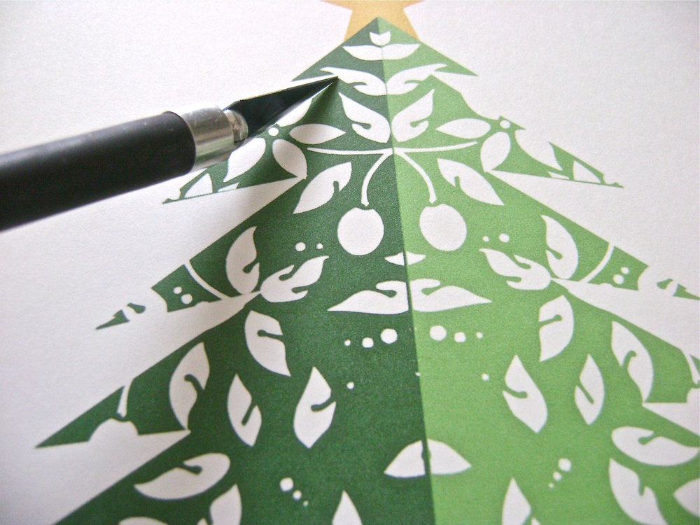 step 1 - Free Standing Trees You will need three printouts for each tree.  Print out the image at the size you want on three card stock pages. The image will be positioned in the same place on each page.  Once they are printed, you can stack them and cut out the image through all layers with a craft knife. Silhouette users can import the printouts and trace them to create cut files.